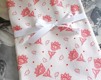 Early 1900's French Cotton Fabric.  Pink & Red Flower Motif with Red Dot.