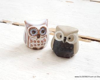 2 little OWLS ceramic owl figurine collectible owl figurines small owl porcelain vtg owl pottery figurine decorative smart owls K09/736