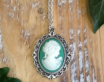 Green Lady Victorian Silhouette Cameo Chain Necklace