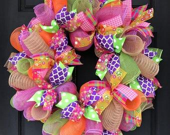 Summer wreath - spring wreath - flower wreath - summer door - summer decor - Mother's Day gift - Mother's Day - summer burlap wreath -