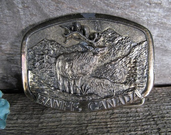 Belt Buckle, Woodlands and Elk, Banff Canada, Produced by Sanchez USA, Retro Fashion Accessory, Vintage Collectible