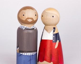 CUSTOM Wooden Peg Doll Family//Couple//Unique Family Portrait