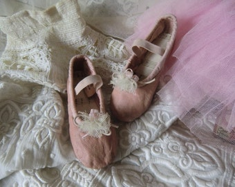 Vintage kids ballet shoes from France miniature ballet shoes chaussures de ballet french boudoir shabby chic
