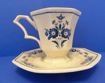 Nikko Classic Collection, Cup & Saucer, Mariner Blue Pattern, Discontinued 1985