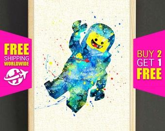 Lego print, Lego watercolor print, Lego Man art, Benny Lego poster, wall art, home decor, kids room, nursery gifts, 547s2g
