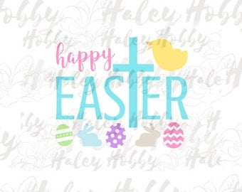 Happy Easter SVG Easter Cut File Digital Download Silhouette