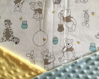 Personalized Minky Baby Blanket, Grey Teal and Yellow Winnie the Pooh Minky Baby Blanket, Custom with Personalization