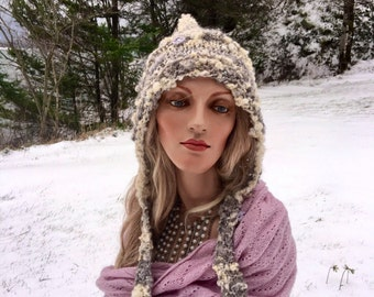 Hand spun art yarn, hand knit pixie hoodie, hand knit wool hat, pixie hoodie,beautiful winter hat, pearls, sparkles, knit wool hat, pixie
