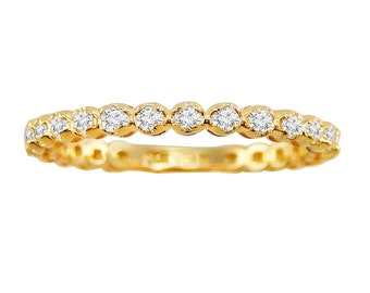 0.50ct Round Cut Diamond 14k Yellow Gold 1/2ct Eternity Wedding Band Ring