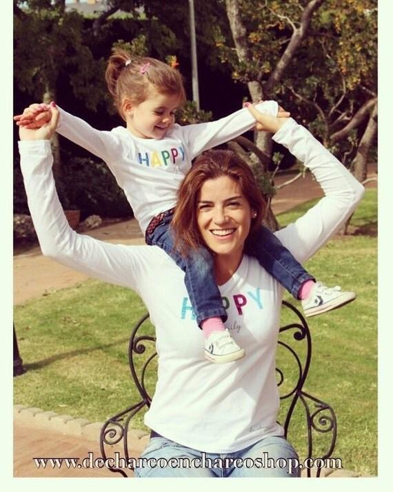 Round neck women t-shirt HAPPY FAMILY