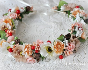 Bridal flower crown Bridal floral crown Floral Hair Wreath Floral wedding crown Wedding flower headpiece Wedding flower crown Boho LV12