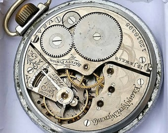 Elgin Antique pocket Watch Movement and porcelain dial 15 jewel 16s for parts restoration or steampunk partial case F4101