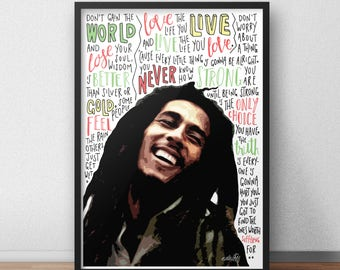 Bob Marley quote print / poster hand drawn type / typography