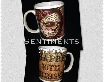 Personalised Candy/Sugar Skull Mug - New - Handmade