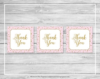 Pink and Gold Baby Shower Favor Thank You Tags - Printable Baby Shower Thank You Tags - Pink and Gold Baby Shower - Favor Tags - SP145