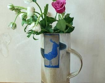 Ceramic Flower Vase, Tall Ceramic Vase, Decorative Ceramic Vase, Rustic Flower Vase, Sgraffito Bird, Kitchen Decor,  Gift for Her