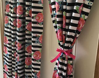 Black and White Stripe with Pink roses curtain  panels choose size