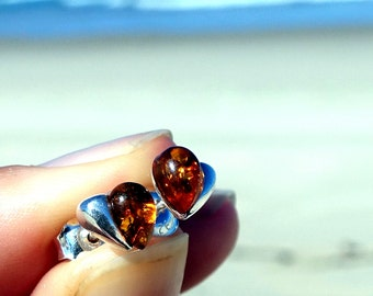 Baltic Amber Earrings, Amber Stud Earrings, Baltic Amber Heart Earrings, Sterling Silver Cognac Amber Earrings, Heart Studs, Amber Heart