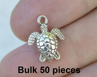Sea Turtle Charms, Aquatic Charm, 50 Pieces, Antique Silver Charms, #BCH309, Tortise Charms, Bracelet Charms, Jewelry Supplies, Alloy Charms