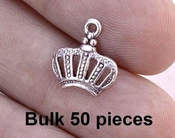Crown Charms, Royal Charms, 50 pieces, bch358, Silver Crown Charms, Bulk Charms, Antique Silver Charms, Jewelry Charms, Embellishments