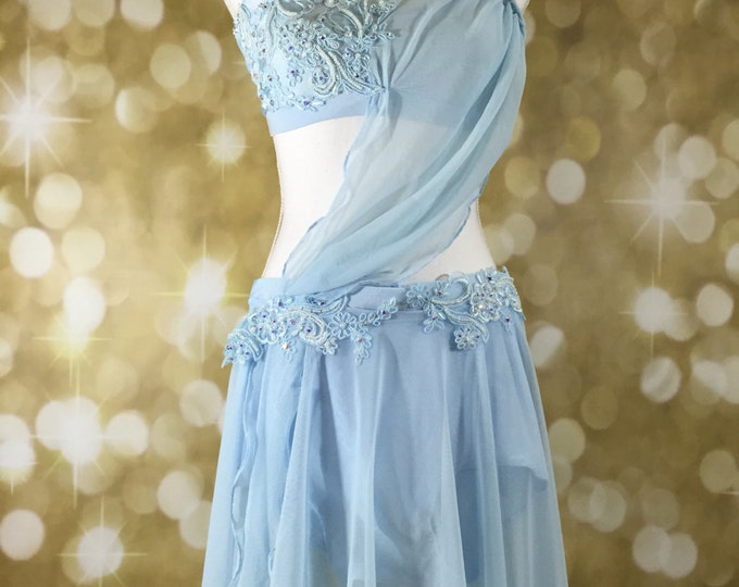 Lyrical Dance Costume,  blue lyrical dance costume, Lyrical  Dance Costume, Custom Dance Costume, dance costume for competition