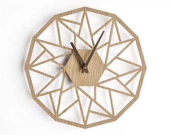 Large wall clock 20 inch -50 cm oak