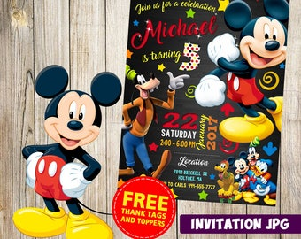 Mickey Mouse Invitation, Mickey Mouse  Party, Mickey Mouse  Birthday Invitation, Boy Mickey Mouse Invitation, Mickey Mouse  Theme Printables