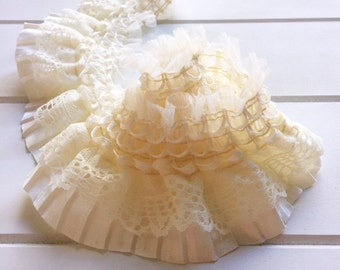 1m Cream Satin Lace Trim for DIY Craft