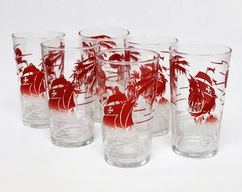 Vintage Glass Tumblers Tropical Sailing Ship
