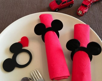 Mickey napkin rings, Kids cloth napkins, Mickey theme napkin rings, Mickey Mouse napkin ring holders, Mickey Mouse party decor, Kids party
