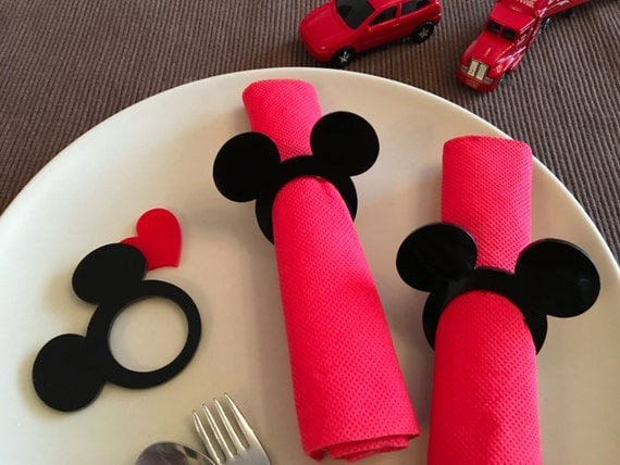 Mickey napkin rings Kids cloth napkins Mickey theme Mickey Mouse napkin ring holders Minnie Mouse party Kids party favors Disney birthday