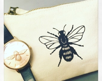 Bee make up bag-Bee pouch-Cosmetic bag