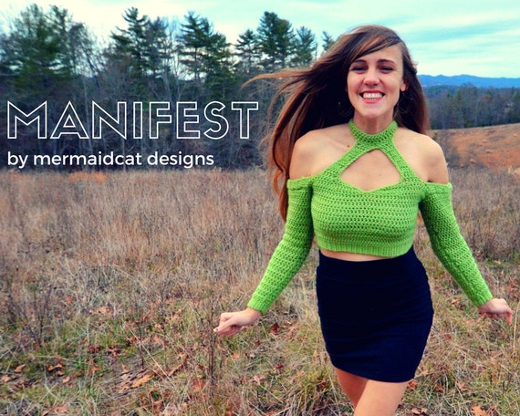 Crochet sweater for women pattern, crop top, off the shoulder - Manifest