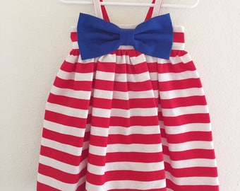 Patriotic Big Bow Dress | Bow Dress | Red, White Blue  Kids Dress | Summertime | Boutique | 4th of July | Independent Day