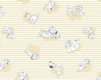 Disney 101 Dalmatians Dog Stripes & Clouds Yellow 100% Cotton fabric  (CA34)