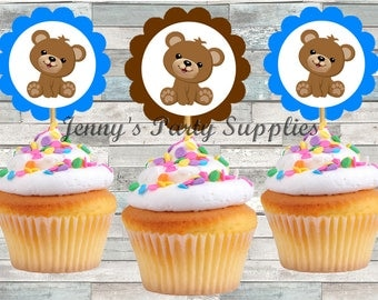 Set of 12 Blue Bear Cupcake Toppers, Brown Bear Cupcake Toppers, Baby Shower Boy Bear Cupcake Toppers, First Birthday Toppers
