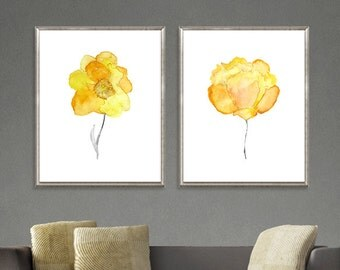 Yellow watercolor flowers, yellow art print, flower print, yellow orange, yellow decor, floral art, home decor Set of 2 - 11/6