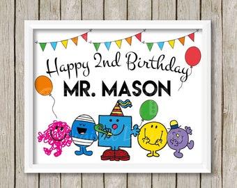 Mr Men inspired Birthday Poster