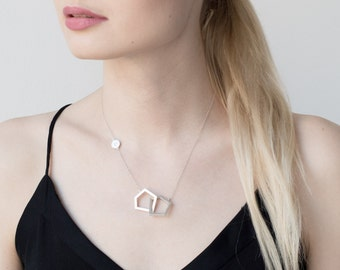 Geometric necklace, silver necklace, minimalist necklace, pendant chain, handmade necklace, gift for her, pentagon necklace, modern jewelry
