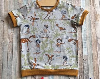 Boy's T shirt~3 years~Dinosaur print~Dinosaurs~Organic cotton~Boy's top~Kids T shirt~Child's Top~Retro clothing~Boy's clothing