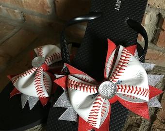 Custom Women's/Girls Real Baseball Flip Flops--Great Baseball Gift/ Baseball Mom Gift