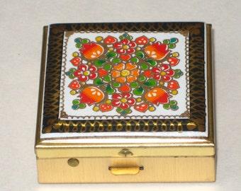 Belgian Enamel Pill Patch Box Vintage Floral Enameling on Brass