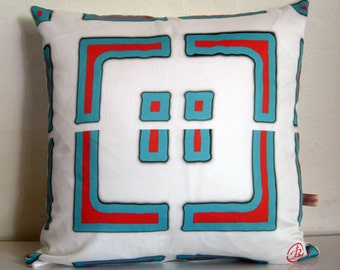 THROW cushion cover,Geometric SHAPES,abstract art,retro,red,white,blue,eco friendly organic cotton, decorative pillow, cushion,43cm x 43cm