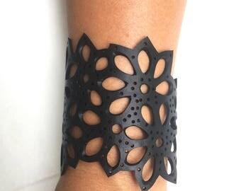 handcut inner tube rubber floral bracelet