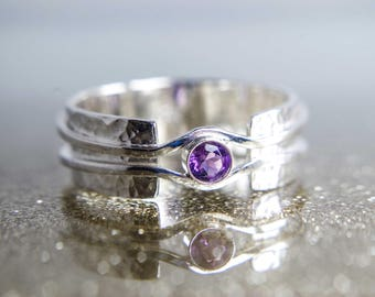 Amethyst ring - Wide band ring - Hammered band unique design - Available with other stones