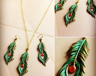 14k Gold filled O chain with Feather leafs pendant verdigris patina effect Boho chic jewelry set