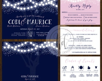 Classic Wedding Invitation, Elegant Wedding Invites, Fun Wedding Invitation,  Blue Wedding Invite, Modern Wedding Invitation