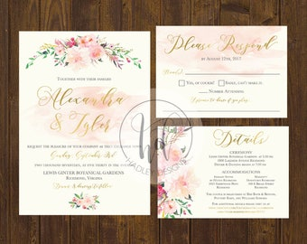 Floral Wedding Invitation, Flower Wedding Invitation, Elegant Wedding Invitation,  Watercolor Wedding Invite, Modern Wedding Invitation