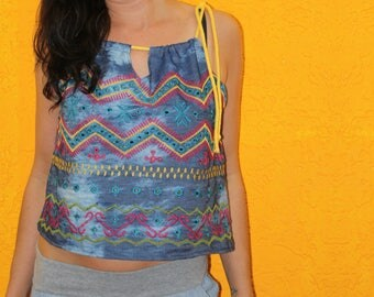 Top 'Tandi' summer festival jeans embroidered multicolored ethno boho tribal hippie sommertop wide cut airy batik backing tapes onesize