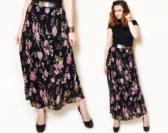 90s maxi skirt floral pattern pink flower print high waist maxis sheer black floaty sexy long bohemian summer elegant gypsy romantic date